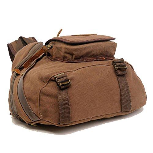 ... Yimidear zaino borsa unisex in tela a spalla pacco petto sport  escursionismo messaggero a mano Marrone ... 280ed4c3d4e