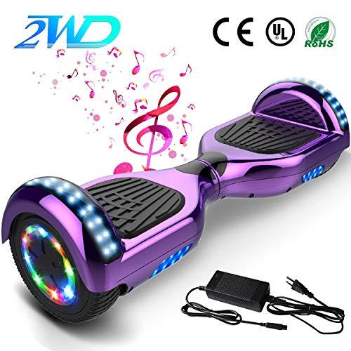 """2WD Hoverboard 8\'\' ElektroScooter Rad-selbstausgleichender Roller Zwei mit Bluetooth und. LED-Licht-elektrischem Roller 8\""""- UL bestätigte 2 * 350W (Weiß- Rot)"""
