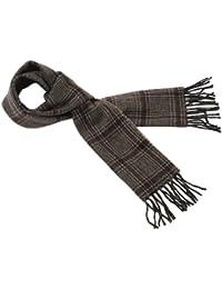 Polo Ralph Lauren Mens Wool Blend Winter Scarf Tan and Burgundy Plaid