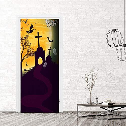 Wasser Wandaufkleber, Halloween Hexe Grab Aufkleber Simulation Tür Aufkleber Wasserdichte Schlafzimmer Wohnzimmer (Hexe Badezimmer Abdeckung)