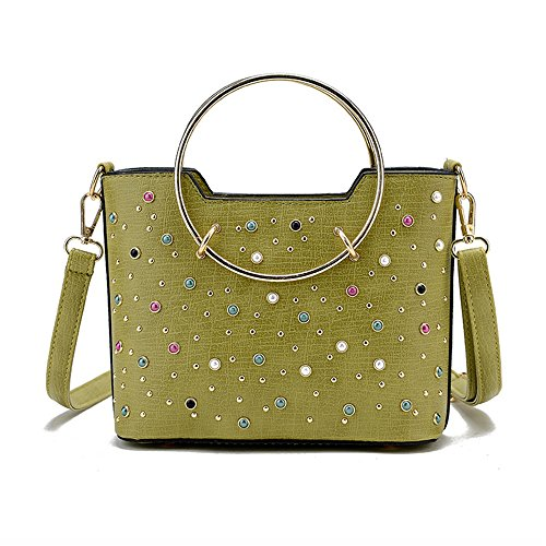 Meoaeo Single Schultertasche Handtasche Schulter Niet New Fashion Schwarz green