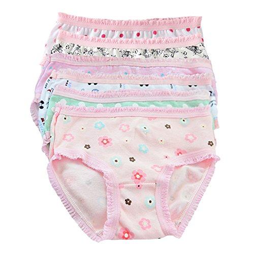 Chic-Chic Lot de 6 Culotte Slip Shorty Bébé Fille Fillette en Coton Doux Dentelle Motif Imprimé sous-Vêtements Enfants Ultra Doux De feuilles
