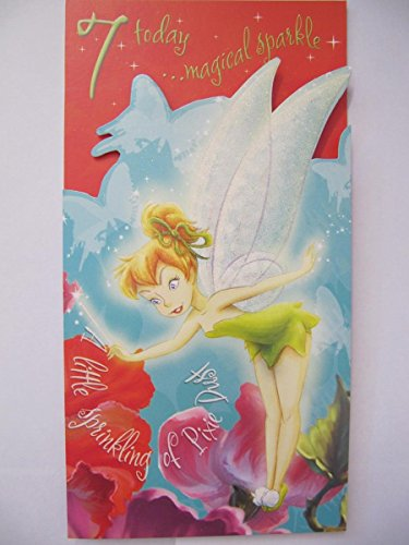 Beautiful Glitter beschichtet Disney Fairies Tinker Bell 7. Geburtstag Grußkarte