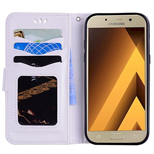 Coque Samsung Galaxy A5 (2017) , Bling Glitter Licorne Étui Protection Wallet PU en Cuir Housse la Haute Qualité Pochette Anti-rayures Couverture Bumper Rabat Magnétique Antichoc Cuir Véritable Case A Blanc