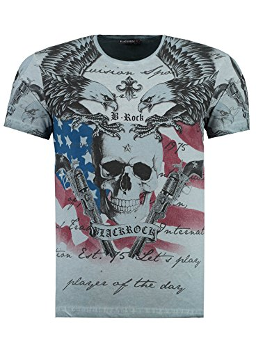 BlackRock Herren T-Shirt Slim-Fit Totenkopf Skull Bones Adler Elasthan 512069 - Gray