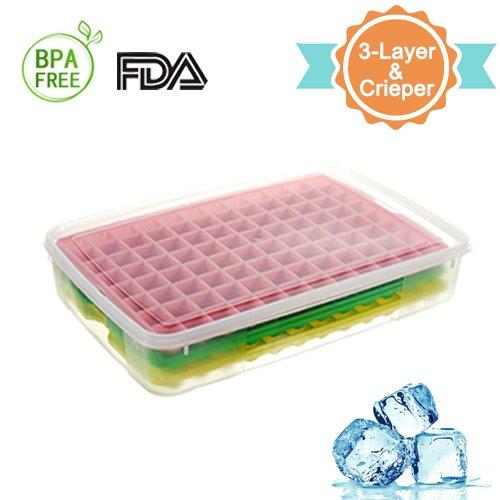 heofean 3PCS Lebensmittelqualität PP Material Eis Gitter Form Set mit Box groß ice cube Homemade Silikon Ice Cube Box Ice Box Modell (Pc Eis-box)