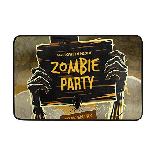 Coosun Halloween Dead Mans Arme aus dem Boden mit Einladung zur Zombie-Party-Fußmatte, Eintrag Weg Indoor Outdoor-Tür Teppich mit Non-Slip-Unterstützung, (23,6 von 15,7-Zoll)