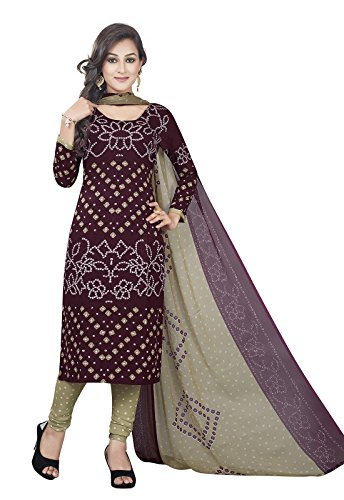 Ishin Synthetic Brown & Beige Printed New Collection Unstitched Salwar Suit Dress Material (Anarkali/Patiyala) With Dupatta