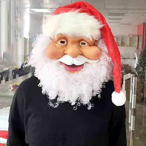 Red Kostüm Hat - YOUNICER Santa Mask Schöne Weihnachten Cosplay Vollmaske Mit Bart und Red Hat Kostüm Kostüm Latex Maske