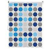 HENGMEI Modernes Duschrollo Wasserdichter Duschvorhang, Schnelltrocknendes Rollo Badewannenvorhang für Dusche und Badewanne, 240 cm Maximale Länge (Kreismuster, Breite 80 cm)