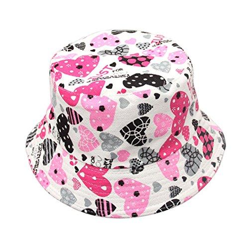 Rosa Eimer Hut (Hillento bunte Unisex-Baby Kleinkind Fischer Eimer Hut breiten Rand Sonnenschutz Hut, schwarz und rosa Herzen)