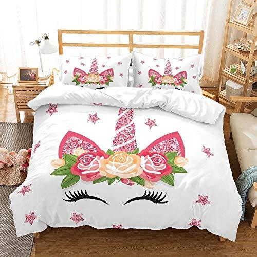 JSDJSUIT Bettwäsche-Set MUSOLEI 3D Bettwäscheset Einhorn Rosenblüten rosa glänzende Sterne Smilling Kinder/Liebende Geschenke/Geschenke Bettlaken Twin Queen King, EU Single 2tlg