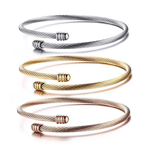 JewelryWe Schmuck 3Damen-Armband Kabel Manschettenknöpfe verstellbar Edelstahl Fantasie für Damen-Kette Hand Farbe Silber Rosa Gold mit Geschenktasche