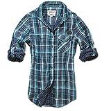 Brandit KATHY Damen Karo Bluse Shirt Hemd doubleface navy/türkis Größe S