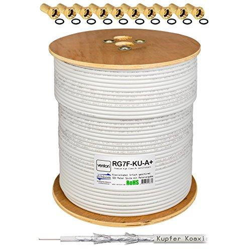 130dB 500m HB-Digital Class A+ Reines Kupfer Sat KOAXial Antennen Kabel UHD 4K inkl. 100x F-Stecker Vergoldet
