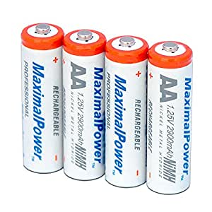 Puissance maximale AA batteries Ni-MH (2900 ° mAh rechargeables) 4 pièces