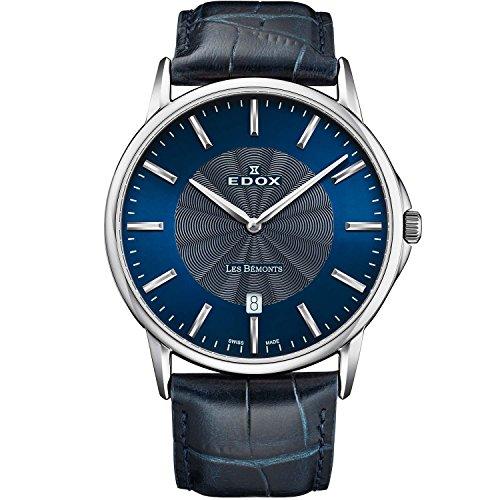 Edox Les Bemonts 56001 3 BUIN - Reloj de cuarzo para hombre, correa de piel ultrafina, 40 mm