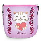 Umhängetasche für Kinder mit Namen Aimee und schönem Motiv - Katze mit Herz - | Schultertasche...