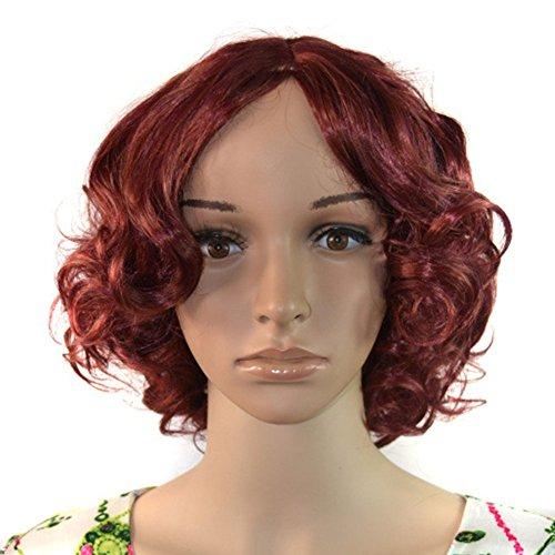 LI JIE Kurze lockige Perücken-weibliches getrenntes in der mittleren kleinen Volumen-Arbeitsplatz-weiblichen Rosen-Netz-Wein-roten Perücke-Hochtemperaturseidenkurzes Haar-Kopf stellte 30cm * 200g EIN