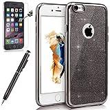 Kompatibel mit iPhone 6S Hülle,iPhone 6 Hülle,[Hartglas Schutzfolie Stylus] Bling Glitzer Überzug Crystal Clear Transparent TPU Silikon Handyhülle Durchsichtig Schutzhülle für iPhone 6S/6,Leer:Grau