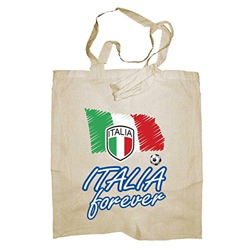 My Custom Style® Shopper in cotone naturale di colore rosso modello Italia_Italia forever 002manici medi da 50cm; formato borsa 38x42cm. La seconda foto si riferisce al modello di borsa scelto, lim