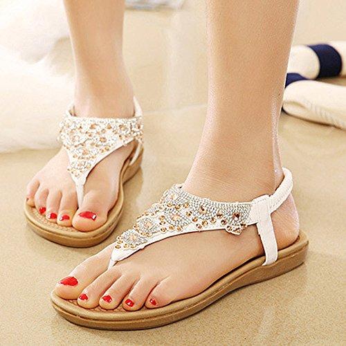Ouneed® Damen Sandalen , Damen Sommer Boehmen glitzer Bling Diamond Rhinestone Art- und Weiseflache große Größen beiläufige Sandelholz Strand Schuhe Weiß