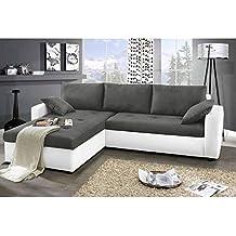 JUSThome Focus Sofá esquinero chaise longue función de cama Gamuza Tela Suede sintética / Cuero sintético Tamaño 142x239x93 cm 1115 Blanco / A-68 Brazo izquierdo