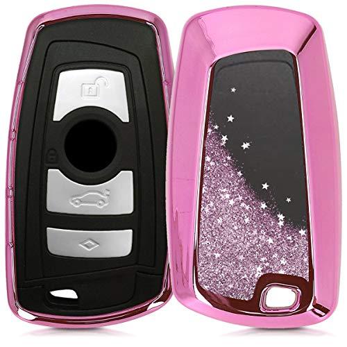 kwmobile Autoschlüssel Hülle für BMW - TPU Schutzhülle Schlüsselhülle Cover für BMW 3-Tasten Funk Autoschlüssel (nur Keyless Go) Pink Metallic Pink
