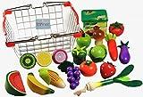 Elfenstall Kaufladen Zubehör Set|Holz |Einkaufskorb gefüllt |Lebensmittel für Spielküche|Obst und Gemüse aus Holz|Kaufmannsladen Einkaufsladen|Tolles Geschenk für Kinder