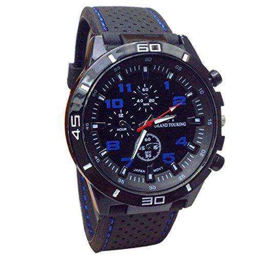 Loveso-Herren Elegant Armbanduhr 2016 Quarz-Uhr-Mann-Militäruhren Sport-Armbanduhr-Silikon-Mode Stunden_Blau