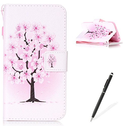 Feeltech Hülle für Huawei Y5 II/Honor 4A Weich Magnet PU Brieftasche Elegant Kartenfach Extra Dünn Schutzhülle Bunte ReLife MusterKarte Halterung Klapp Ledertasche - Pfirsich Blüten Baum