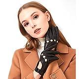 ZQ-Collection Guanti in pelle da donna, sottili ed eleganti, auto da guida e uso quotidiano