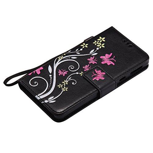 Custodia Xperia E5, ISAKEN Flip Cover per Sony Xperia E5 con Strap, Elegante borsa Tinta Unita Farfalla Design in Sintetica Ecopelle PU Pelle Protettiva Portafoglio Case Cover con Supporto di Stand /  Flowers: nero