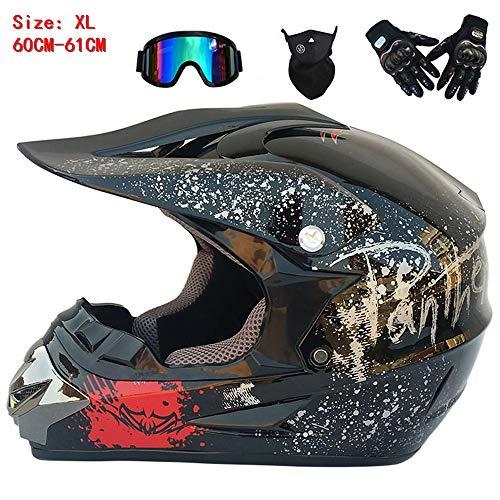 QYTK® Série ZX-210 Unisex Motorradhelm, Full face Motocross Helm Sport Adventure Racing Motorrad-Helm Motocross Schutzhelm MTB Schutz Sicherheit Helm mit Brille Handschuhe Maske,XL60~61CM -
