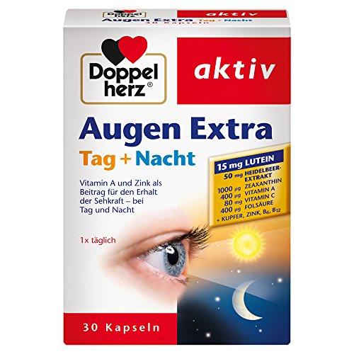 Doppelherz Augen Extra Tag + Nacht – Nahrungsergänzungsmittel mit Vitamin A & Zink als Beitrag für den Erhalt der normalen Sehkraft - plus Heidelbeer-Extrakt & Lutein – 1 x 30 Kapseln