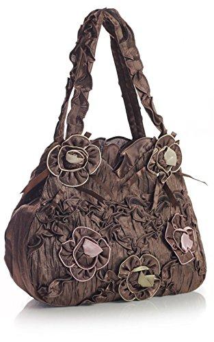 Big Handbag Shop leichte Schultertasche Kunststoff Hochzeit Abendtasche Kaffee