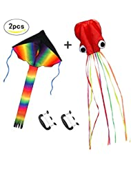 ZoomSky 2 Pack Kites - Large Rainbow Delta Kite and Red Mollusc Octopus with Long Colorful Tail for Children Outdoor Game,Activities,Beach Trip (Delta & Octopus)
