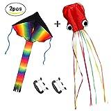 ZoomSky 2 Pcs Grand Cerf-volant Enfant Monofil Rainbow de...