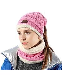 FLY HAWK Cappello Sciarpa Anello in Maglia Invernali da Donna - Berretto  Beanie Sciarpa Loop Knit in Peluche Caldo per Bambina Cappello… be5f2a5a094e