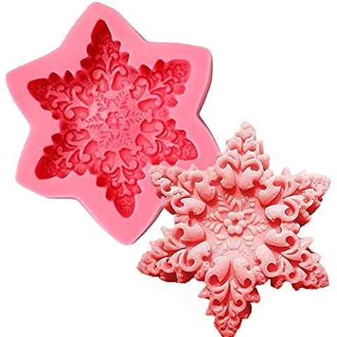 Yongse Jabón de Navidad del copo de nieve del molde la pasta de azúcar que adorna el molde para hornear de silicona Moldes