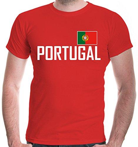 buXsbaum® Herren T-Shirt Portugal   Portuguesa Portogallo Europa Ländershirt Fanshirt Flagge Trikot Reise   XL, Rot