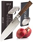 Kutt Chef Knife, Razor Sharp and Rust-Free Professional Santoku Knife for Budding Kitchen Cooks and Pro Chefs, German Stainless Steel, 7 Inch Blade, Odor Remover and Finger Guard Included