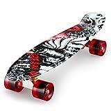 Enkeeo - Monopatín Skateboards Retro Crucero (22 pulgadas, 4 PU ruedas traslúcidas, tabla de plástico reforzado, rodamiento ABEC-7) Vampiro