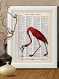 Kunstdrucke, Aperitif, Flamingo, rosa, vogel, Herz auf Antike Buchseite,#FEN09