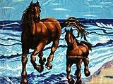 Kuscheldecke Tagesdecke Decke Motiv Pferd mit Fohlen blau 160x200cm