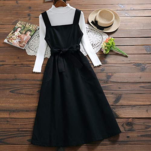 Wujiaba 4 Farben frühling Sommer Frauen Sommerkleid Strap Baumwolle Casual Style Tank Dress allgleiches langes Dress,Schwarz,L -