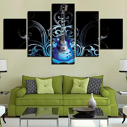 mmwin Modulare Leinwand Wandkunst Bilder Dekoration 5 Stücke Moderne Musikinstrument Gitarre Wohnzimmer Poster Arbeiten - Hello Kitty Kosmetik-set