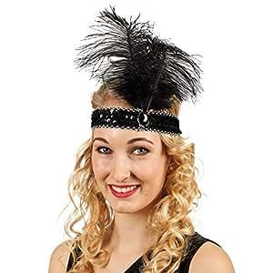 Diadème Charleston années 20 paillettes avec plume accessoire de costume noir