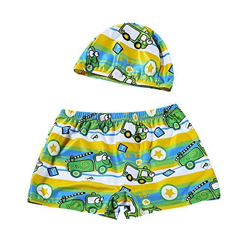 Strandkleider 2 Stücke Kinder Badeanzug süßes Baby Jungen Stretch Strand Badebekleidung Badehose Shorts Hut Set Am Strand Spielen(Grün,Size:4T)