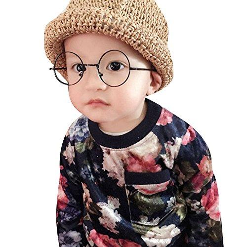 Mädchen Junge Brillen - Rund Retro Stil Brille Metall Brillenfassung Transparente Linsen Lesen Gläser für Baby Kinder Unisex